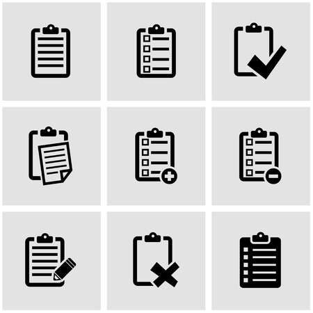 list: Vector black check list icon set. Check List Icon Object, Check List Icon Picture, Check List Icon Image - stock vector