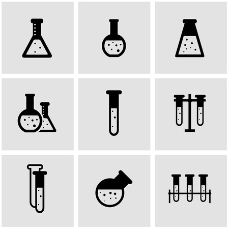Chemical: Vector black chemistry icon set. Chemistry  Icon Object, Chemistry Icon Picture, Chemistry Icon Image - stock vector Illustration