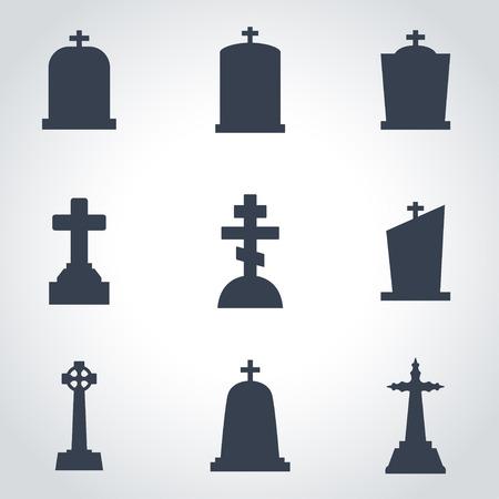 Vector black gravestone icon set. Gravestone Icon Object, Gravestone Icon Picture, Gravestone Icon Image - stock vector