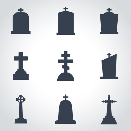graves: Vector black gravestone icon set. Gravestone Icon Object, Gravestone Icon Picture, Gravestone Icon Image - stock vector