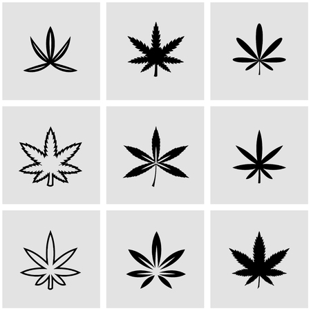 marijuana plant: Vector black marijuana icon set. Marijuana Icon Object, Marijuana Icon Picture, Marijuana Icon Image - stock vector Illustration