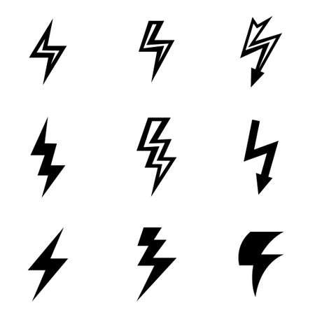 energia electrica: set vector icono de un rayo negro. Icono Objeto rayo, relámpago icono de la imagen, los rayos de imagen de iconos - Imagen vectorial