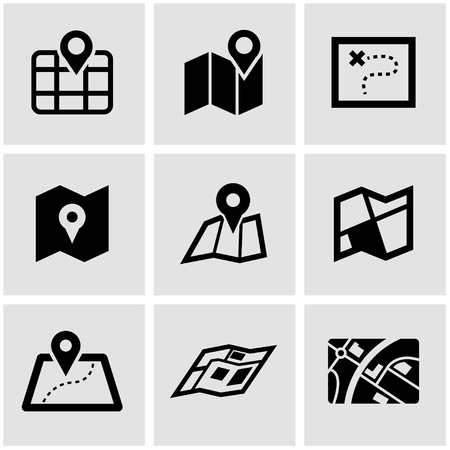 Vector black map icon set. Map Icon Object, Map Icon Picture, Map Icon Image - stock vector  イラスト・ベクター素材