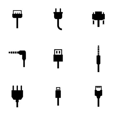 wires: Vector black plug icon set. Vector black plug icon set. Plug Icon Object, Plug Icon Picture, Plug Icon Image - stock vector