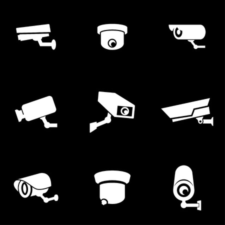 security icon: Vector white security camera icon set. Security Camera Icon Object, Security Camera Icon Picture, Security Camera Icon Image - stock vector Illustration