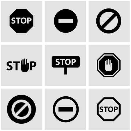 red sign: Vector black stop icon set. Stop Icon Object, Stop Icon Picture, Stop Icon Image - stock vector Illustration