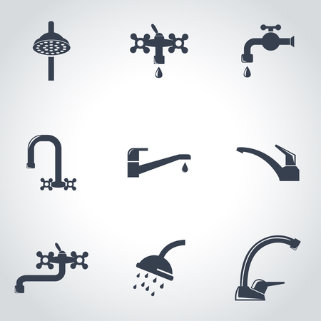 Black Water Tap Icon Set Water Tap Icon Object Water Tap Icon