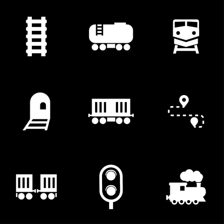 vehicle track: Vector white railroad icon set. Railroad Icon Object, Railroad Icon Picture, Railroad Icon Image - stock vector