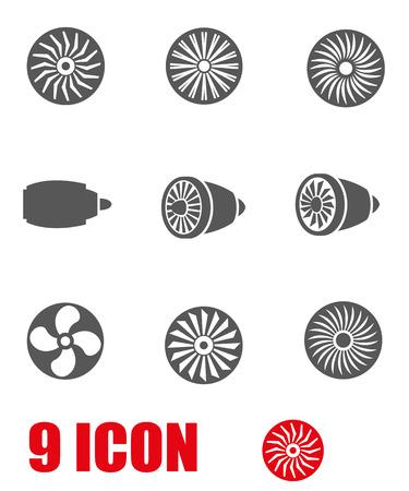 ventilator: Vector grey turbines icon set. Turbines Icon Object, Turbines Icon Picture, Turbines Icon Image - stock vector