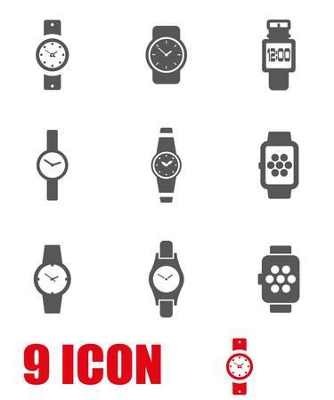 wristwatch: Vector grey wristwatch icon set. Wristwatch Icon Object, Wristwatch Icon Picture, Wristwatch Icon Image - stock vector