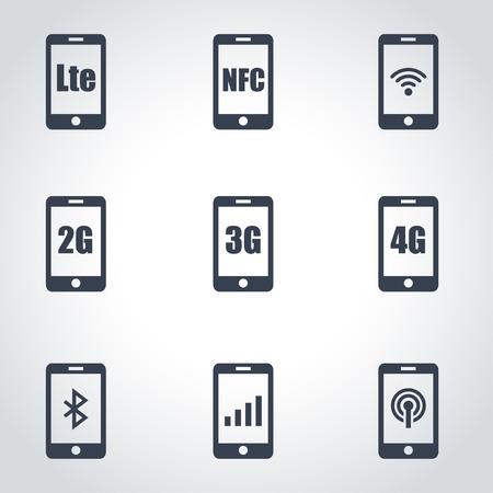 wireless communication: 3G, 4G and LTE technology. Wireless communication technology symbol Illustration