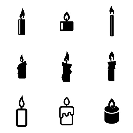 candle: Vector black candles icon set. Candles Icon Object, Candles Icon Picture, Candles Icon Image - stock vector