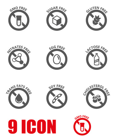 allergen: Vector black food dietary labels icon set. Food Dietary Labels Icon Object, Food Dietary Labels  Icon Picture, Food Dietary Labels  Icon Image - stock vector Illustration