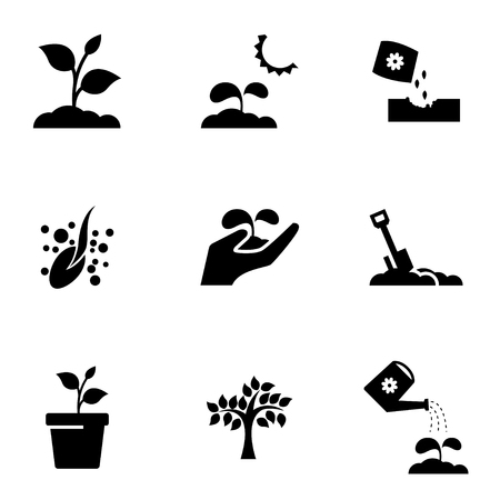 plant hand: Vector black growing icon set. Growing Icon Object, Growing Icon Picture, Growing Icon Image - stock vector