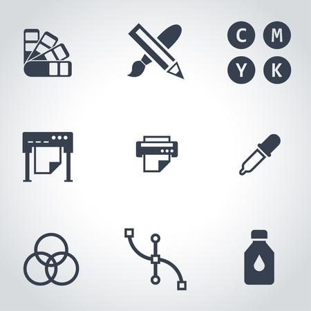polygraphy: Vector black polygraphy icon set. Polygraphy Icon Object, Polygraphy Icon Picture, Polygraphy Icon Image - stock vector