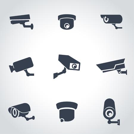 Vector black security camera icon set. Security Camera Icon Object, Security Camera Icon Picture, Security Camera Icon Image - stock vector  イラスト・ベクター素材