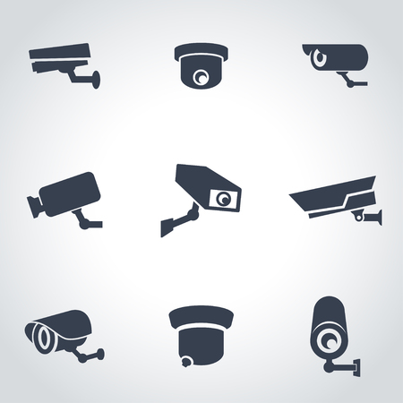 private security: Vector black security camera icon set. Security Camera Icon Object, Security Camera Icon Picture, Security Camera Icon Image - stock vector Illustration
