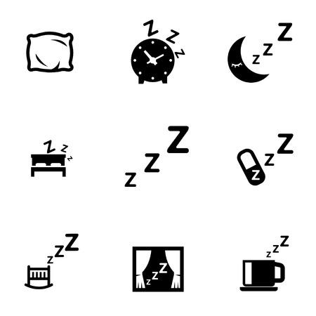 gente durmiendo: set vector icono negro del sueño. Icono del sueño objetos, icono de la imagen del sueño, el sueño Icono de imagen - vector stock