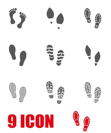 imprints: Vector grey shoes imprints icon set. Shoes Imprints Icon Object, Shoes Imprints Icon Picture, Shoes Imprints Icon Image - stock vector