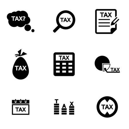 pay cuts: Vector black tax icon set. Tax Icon Object, Tax Icon Picture, Tax Icon Image - stock vector