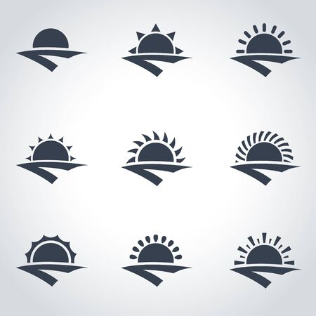 horizon: Vector black sunrise icon set. Sunrise Icon Object, Sunrise Icon Picture, Sunrise Icon Image - stock vector