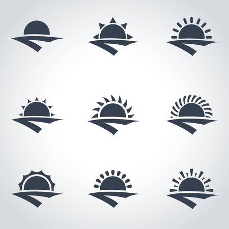 horizonte: Vector icono negro amanecer establecido. Amanecer Icono Objeto, Salida del sol Icono Imagen, Amanecer Icono Imagen - Imagen vectorial Vectores