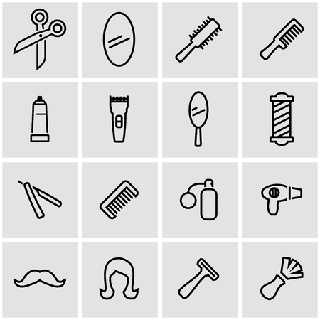 black women hair: Vector line barber icon set. Barber Icon Object, Barber Icon Picture, Barber Icon Image - stock vector