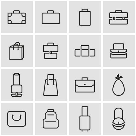 buy icon: Vector line bag icon set. Bag Icon Object, Bag Icon Picture, Bag Icon Image - stock vector