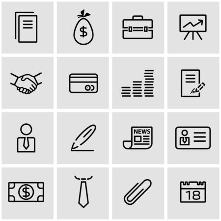 thin bulb: Vector line business icon set. Business Icon Object, Business Icon Picture, Business Icon Image - stock vector Illustration