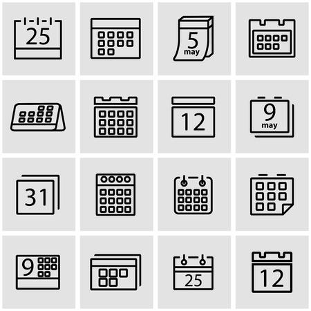Vector line calendar icon set. Calendar Icon Object, Calendar Icon Picture, Calendar Icon Image - stock vector