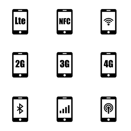 3g: 3G, 4G and LTE technology. Wireless communication technology symbol Illustration