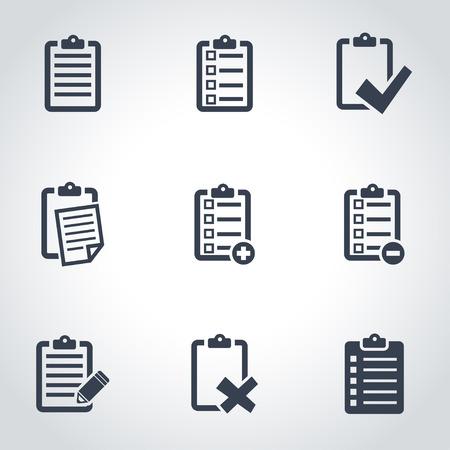 ベクトル黒チェック リスト アイコンを設定。チェック リスト アイコン オブジェクト、チェック リスト アイコン画像、チェック リスト アイコン
