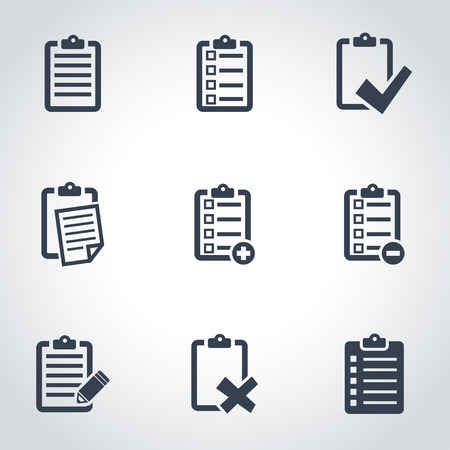 Vector zwarte checklist icon set. Checklist Icon Object, Check List Icon Picture, Check List Icon Afbeelding - voorraad vector Stockfoto - 50313611