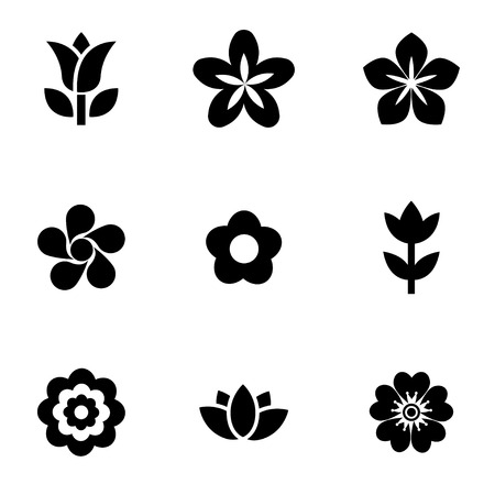 roses garden: Vector black flowers icon set. Flowers Icon Object, Flowers Icon Picture, Flowers Icon Image - stock vector