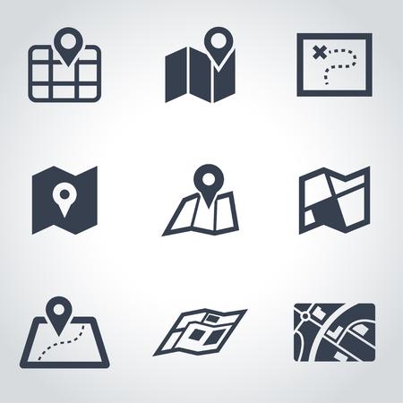 set vector icono de mapa negro. Mapa del icono del objeto, icono en el Mapa de imagen, mapa de imagen de iconos - vector stock