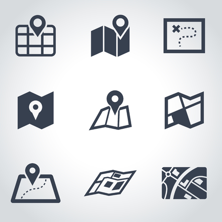maps: Vector black map icon set. Map Icon Object, Map Icon Picture, Map Icon Image - stock vector Illustration