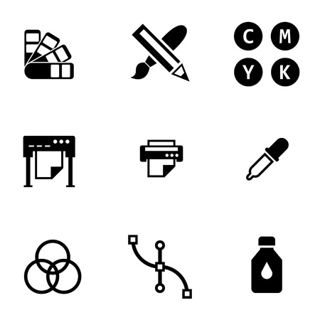 Vector schwarz Polygraphie icon set. Polygraphie Symbol Objekt, Polygraphie Icon Bild, Polygraphie Icon Bild - Vektorgrafik