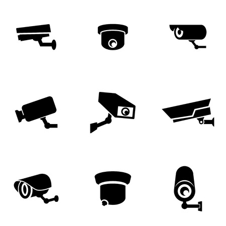 security: Vector black security camera icon set. Security Camera Icon Object, Security Camera Icon Picture, Security Camera Icon Image - stock vector Illustration