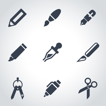 office tool: Vector black stationery and painting icon set. Stationery and Painting Icon Object, Stationery and Painting labels Icon Picture, Stationery and Painting Icon Image - stock vector