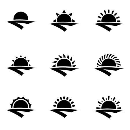 sunrise: Vector black sunrise icon set. Sunrise Icon Object, Sunrise Icon Picture, Sunrise Icon Image - stock vector