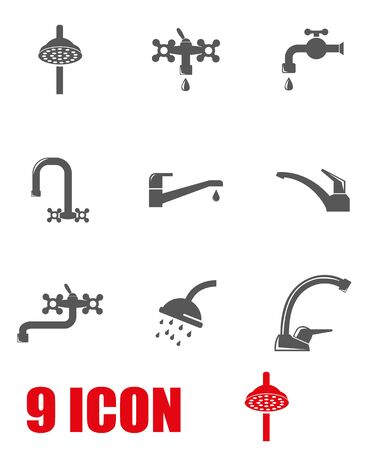 stopcock: Vector grey water tap icon set. Water Tap Icon Object, Water Tap Icon Picture, Water Tap Icon Image - stock vector