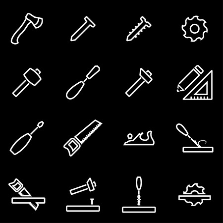 forestry: Vector line carpentry icon set. Carpentry Icon Object, Carpentry Icon Picture, Carpentry Icon Image - stock vector