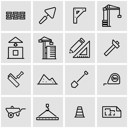 construction icon: Vector line construction icon set. Construction Icon Object, Construction Icon Picture, Construction Icon Image - stock vector Illustration