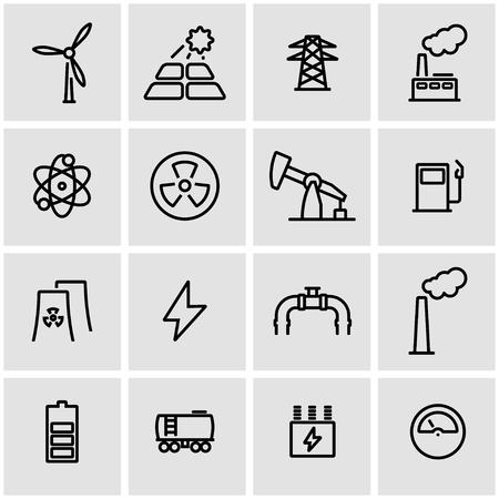 radiacion solar: set vector icono de línea energética. Energética objeto Icon, la energética icono de imagen, energética icono de imagen - Imagen vectorial Vectores