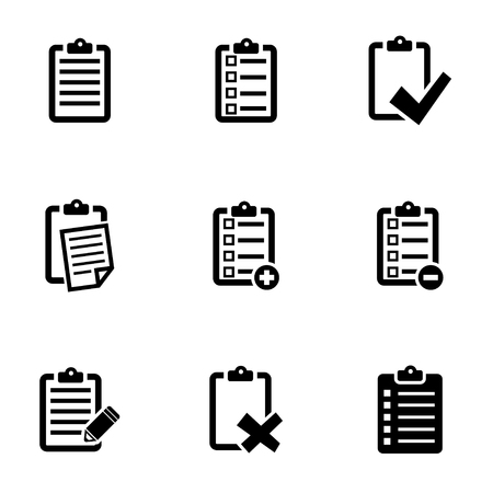 Vector black check list icon set. Check List Icon Object, Check List Icon Picture, Check List Icon Image - stock vector