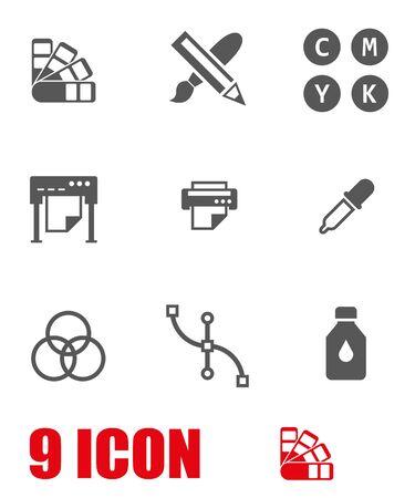 imprenta: set vector icono de la poligrafía blanco. Poligrafía Icono Objeto, poligrafía icono de imagen, poligrafía de imagen de iconos - vector stock