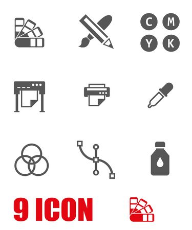polygraphy: Vector white polygraphy icon set. Polygraphy Icon Object, Polygraphy Icon Picture, Polygraphy Icon Image - stock vector