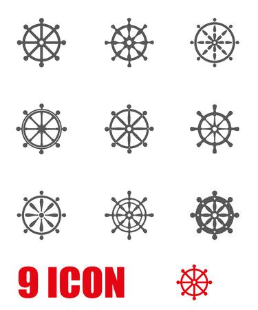 rudder: Vector grey rudder icon set. Rudder Icon Object, Rudder Icon Picture, Rudder Icon Image - stock vector