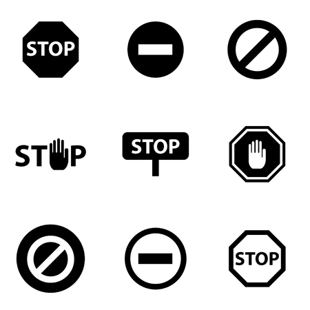 stop hand: Vector black stop icon set. Stop Icon Object, Stop Icon Picture, Stop Icon Image - stock vector Illustration