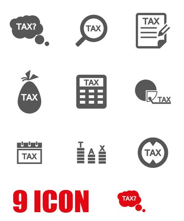 Vector grey tax icon set. Tax Icon Object, Tax Icon Picture, Tax Icon Image - stock vector